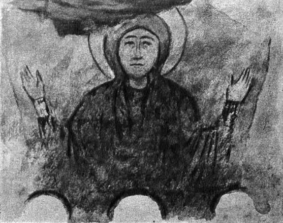 Богоматерь. Фреска Сентинского храма. X в. Рисунок И.А. Владимирова