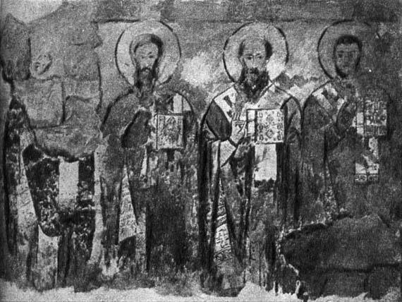 Апостолы. Фреска Сентинского храма. X в. Рисунок И.А. Владимирова